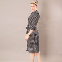 Black modest A - line buttoned dress with dots print and belt