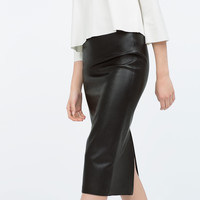 FAUX LEATHER MIDI PENCIL SKIRT New