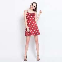 Casual Heart Printed Spaghetti Strap Red Mini Skater