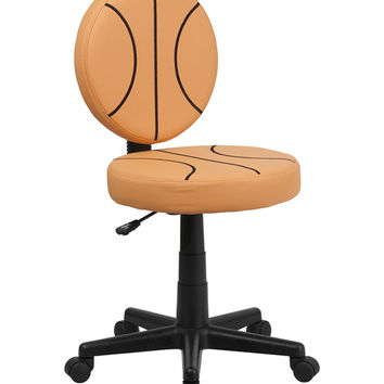 Flash Furniture Mobile Adjustable Round Seat Basketball Style Computer Home Office Desk Armless Task Chair