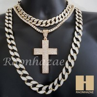 "Hip Hop Iced Out Cross Pendant 16"" Iced Out Choker 18"" Tennis 30"" Cuban Chain 211"
