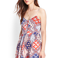 FOREVER 21 Floaty Printed Cami Dress Cream/Tomato