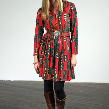 Country Miss brand Midcentury patterned zip front dress with long sleeves and full skirt, sz M