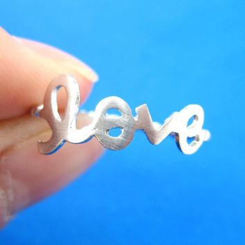 Love Cursive Hand Written Ring in Silver | DOTOLY