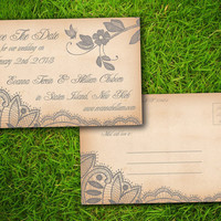 """Vintage Rustic Grey Lace Personalized 4"""" x 6"""" Save The Date Wedding PostCard - 50 Pieces PRINTED Double Sided Postcard"""