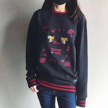 Tommy Hilfiger Fashion Casual Long Embroidery Sleeve Sweater Pullover Sweatshirt