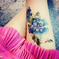 temporary tattoo blue big large plant flowers flower body art water transfer skin paper tattoo rose sticker stickers fake tattoo