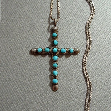 Vintage STERLING Silver NATIVE American TURQUOISE Cross Necklace Petit Point Snake Eye Sterling Chain c.1960's, Mother's Day Gift