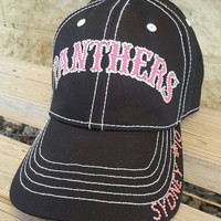 Softball mom and Soccer Mom Hats, bling team hats with Team Name done in colors of your choice