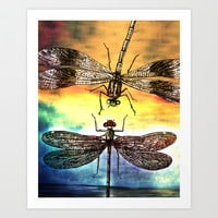 DRAGONFLY meets a Friend Art Print by Pia Schneider [atelier COLOUR-VISION]