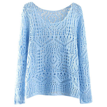 Long Sleeve Crochet Cut Out Pullover