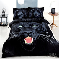 black leopard bedding sets 4pcs queen size linen cotton animal bed set duvet cover/comforter set/bedclothes/pillowcase/bedspread