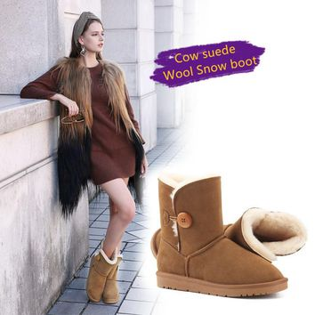 Mid-calf Women boots Top quality cow suede super warm 100% wool Australian classic style Button ug snow boots winter shoes