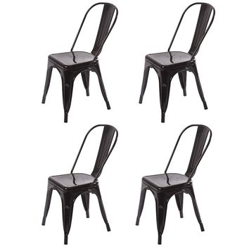 Black Silver Set of 4 Metal Frame Tolix Style Bar Stool Chair With Back CB4