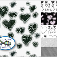Love Heart Black and White digital paper Valentine Instant download Digital Scrapbook paper Paper set Printable paper Pack of backgrounds