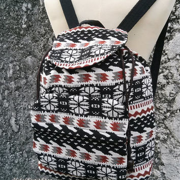 Boho Backpack Ethnic Aztec Print Tribal Hippies Woven Fabric Hobo Rucksack Hipster Gypsy Nepali Patterns Bags Purse Native snow size Small