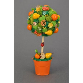 Fruit tree Fruit topiary Orange tree Decorative tree Green Table centerpiece Tree with pears and oranges Gift on housewarming