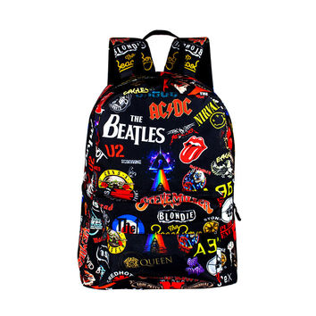 High Quality Fashion Rock Band Backpack For Teenage Women Men Casual Daypack College Student Preppy School Backpack Travel Bags