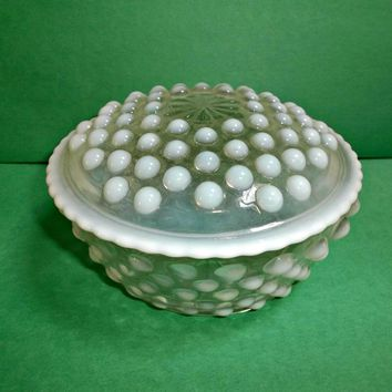 Anchor Hocking Glass French Opalescent Moonstone Puff Box Vintage Jar
