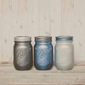 Painted mason jars. Wedding centerpiece. Guestbook pen jar. pen holder, pencil holder, dorm organizer. Makeup brush holder.