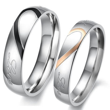 Heart Shape Matching Titanium Promise Ring for Couple 316L Stainless Steel Wedding Bands Rings #lcmq = 1929885252