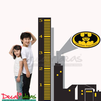 Superhero Batman Spiderman Height Chart - Gotham City Skyline with Custom Name Batman Emblem Vinyl Wall Decal Sticker - Batman Height Chart