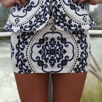 Navy/White Sanchu Skirt  from xeniaeboutique