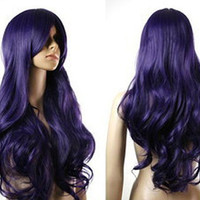Short Sale- Long Wavy Deep Purple Wig w/ Side Bangs Cosplay Anime Costume Wig Comic Con Chemo Wig Hair Loss Party Scene Synthetic Wig