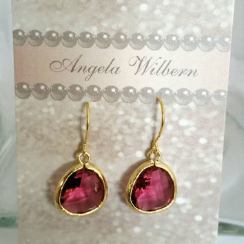 Fushia pink earrings, pink earring, 14 Karat gold plated drops, bright pink earrings, gift for mom, prom earrings