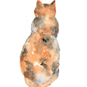 Watercolor cat painting, watercolor painting, cat art, cat silhouette, animal art, watercolor animals, abstract cat, cat print, 5X7 print