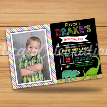 Dinosaur Chalk Design Invitation - Digital File