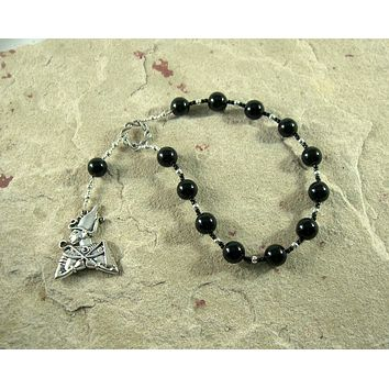 Osiris (Wesir) Pocket Prayer Beads in Black Onyx: Egyptian God of Death and the Afterlife