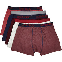 River Island MensDark red RI contrast trim boxer shorts pack