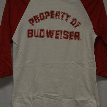 VINTAGE BUDWEISER BEER T-shirt Old Stock! Sz-M Baseball Style T