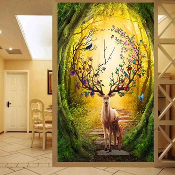 Needlework,DIY DMC 14CT Cross stitch,Embroidery kits,Art Cross-Stitching Handmade Forest Moose deer Animal Oil Painting decor