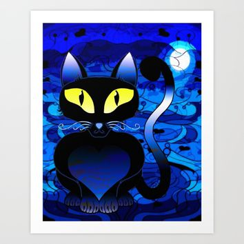Black Cat Midnight Art Print by Gift Of Signs