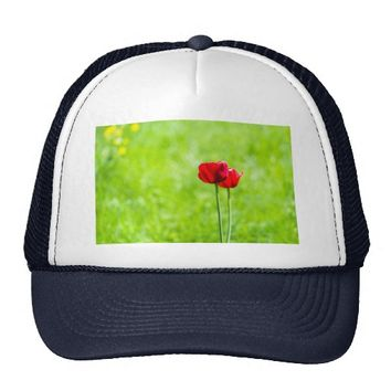Two red tulip flowers trucker hat