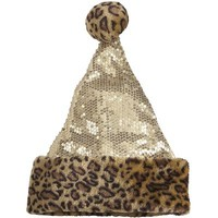 Cheetah Sequin Santa Hat