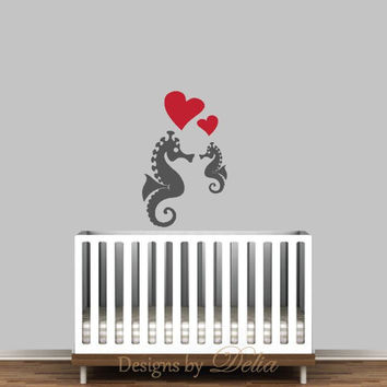 Nursery Decal with Seahorse and Baby Seahorse