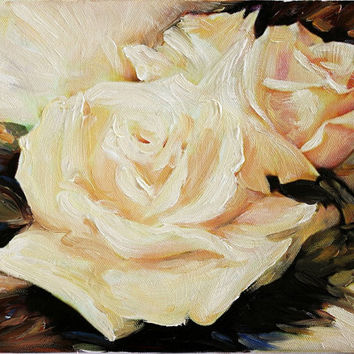 White Rose Still Life Fine Art Oil Painting on Canvas Contemporary Floral Wall Decor
