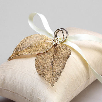 reserved for Emillie - Wedding Ring Bearer Pillow - Rustic Wedding, Bridal Ring Pillow - Real leaves