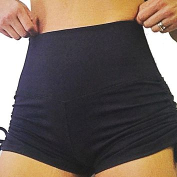 Fashionable Hips Lifting Slim Fitting Hip Lifting Yoga Shorts Solid Color Tie High Waist Fitness Shorts