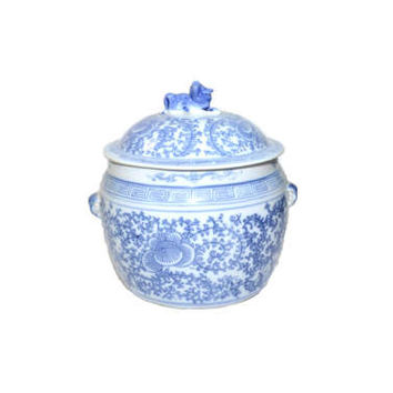 Vintage Blue and White Ginger Jar Vintage Ginger Jar Blue Ginger Jar Blue and White Ceramic Jar Chinoiserie Decor