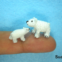 Micro Polar Bears   Tiny Crochet Miniature White Bear  by SuAmi