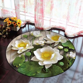 3D Lotus Round Carpet For Living Room Parlor Bedroom Chair Rugs Classic Home Decoration Non-slip Toilet Bath Mat alfombra tapis