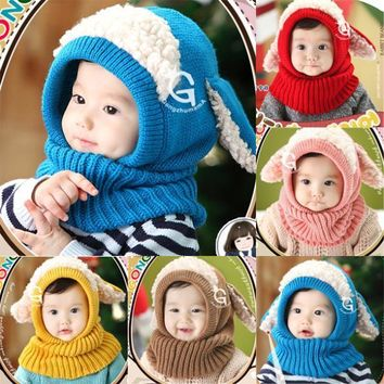 New Style Brand New Toddler Kids Girls Boy Hats Coif Hood Kintted Woolen Scarves Caps Winter Warm Cap