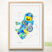 Lego Minifigure, Benny Lego Toy Man - Watercolor Art Print, Room Decor, Kids Toy Poster, Home Baby Nursery Wall Art