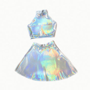 HOLOGRAPHIC TWIN SET Sleeveless Turtle Neck Crop and High Waist Skater Skirt