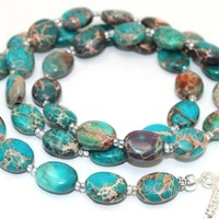 Blue Aqua Terra Impression Jasper and Czech Seed Beads Necklace | AyaDesigns - Jewelry on ArtFire