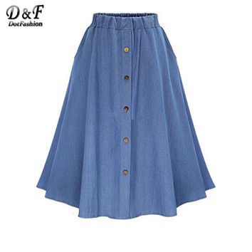 Shop Long Denim Skirts on Wanelo